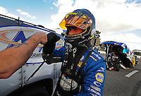 Jan 24, 2009; Chandler, AZ, USA; NHRA funny car driver Jack Beckman during testing at the National Time Trials at Firebird International Raceway. Mandatory Credit: Mark J. Rebilas-