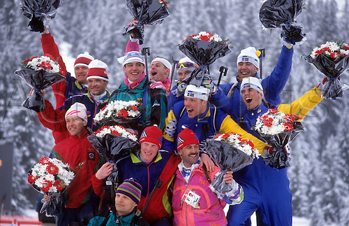 16 02 2009  Award Ceremony Season 1992 Germany with Jens stony front Fritz Fischer front right Ricco Big Hi  and Mark Kirchner Hi wins  with Sergei Tchepikov front centre and Sweden  Albertville 1992 4x7 5km team Biathlon men.