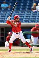 Clearwater Threshers shortstop Freddy Galvis (13), on rehab assignment from the Philadelphia Phillies, at bat during a game against the Tampa Yankees on April 9, 2014 at Bright House Field in Clearwater, Florida.  Tampa defeated Clearwater 5-3.  (Mike Janes/Four Seam Images)