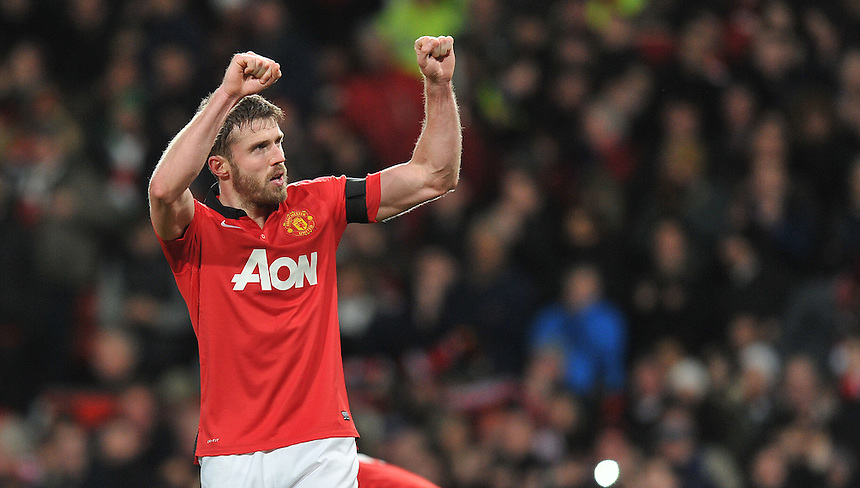 Manchester United's Michael Carrick celebrates scoring his sides second goal <br /> <br /> Photo by Dave Howarth/CameraSport<br /> <br /> Football - Barclays Premiership - Manchester United v Fulham - Sunday 9th February 2014 - Old Trafford - Manchester<br /> <br /> &copy; CameraSport - 43 Linden Ave. Countesthorpe. Leicester. England. LE8 5PG - Tel: +44 (0) 116 277 4147 - admin@camerasport.com - www.camerasport.com