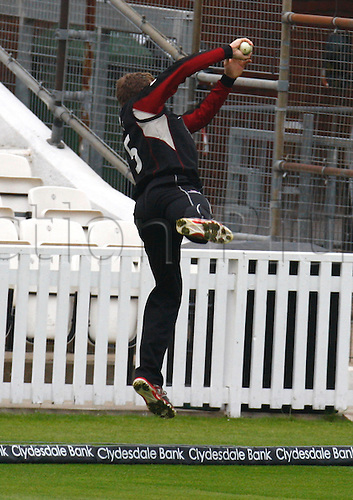 04.05.2012. Brit Oval, London, England.  Jos Buttler of Somerset County Cricket  catch Rory Hamilton-Brown of Surrey County Cricket not given during the Clydesdale Bank Pro40 match between Surrey and Somerset  at The Brit Oval on May 04, 2012 in London, England.
