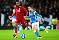 Napoli's Mario Rui competes with Liverpool's Georginio Wijnaldum<br /> <br /> Photographer Richard Martin-Roberts/CameraSport<br /> <br /> UEFA Champions League Group C - Liverpool v Napoli - Tuesday 11th December 2018 - Anfield - Liverpool<br />  <br /> World Copyright © 2018 CameraSport. All rights reserved. 43 Linden Ave. Countesthorpe. Leicester. England. LE8 5PG - Tel: +44 (0) 116 277 4147 - admin@camerasport.com - www.camerasport.com