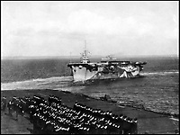 BNPS.co.uk (01202 558833)Pic: CharterhouseAuctioneers/BNPS<br /> <br /> HMS Fencer.<br /> <br /> A remarkable wartime photo album that highlights the perilous nature of landing a fighter plane on an aircraft carrier in heavy seas has been unearthed.<br /> <br /> The black and white snaps show several Royal Naval aircraft coming a cropper while attempting to land on board HMS Fencer often in heavy seas.<br /> <br /> One set of images depict a Swordfish biplane crashing into the sea a few hundred yards off the aircraft carrier HMS Fencer.<br /> <br /> Other photos show a Supermarine Seafire about the crash into the superstructure.<br /> <br /> The album will be sold by Charterhouse Auctioneers in Sherborne, Dorset.