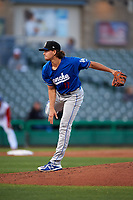 Rancho Cucamonga Quakes starting pitcher Dean Kremer (17) follows through on his delivery during a California League game against the Stockton Ports at Banner Island Ballpark on May 16, 2018 in Stockton, California. Rancho Cucamonga defeated Stockton 6-3. (Zachary Lucy/Four Seam Images)