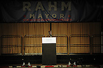 The empty stage at the Plumbers Union Hall before Rahm Emanuel was elected mayor of Chicago in Chicago, Illinois on February 22, 2011.