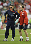 06 February 2008: U.S. assistant coach Mike Sorber (USA) (l) with Eddie Lewis (USA) (7). The United States Men's National Team played the Mexico Men's National Team to a 2-2 tie at the Reliant Stadium in Houston, TX in a men's international friendly soccer game.