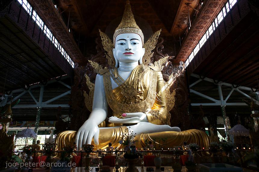 monumental sculpture of  sitting Buddha in Ngahtatgyi Paya temple, Yangon, Myanmar, 2011