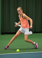 Rotterdam, The Netherlands, 07.03.2014. NOJK ,National Indoor Juniors Championships of 2014, 12and 16 years, Julie Belgraver (NED)<br /> Photo:Tennisimages/Henk Koster