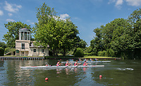 Henley. Berks, United Kingdom. <br /> <br /> &quot;Coxed fours&quot; pass the &quot;Temple Island Folly&quot;, during the 2017 Henley' Women's Regatta. Rowing on, Henley Reach. River Thames. <br /> <br /> Saturday  17/06/2017<br /> <br /> <br /> [Mandatory Credit Peter SPURRIER/Intersport Images]
