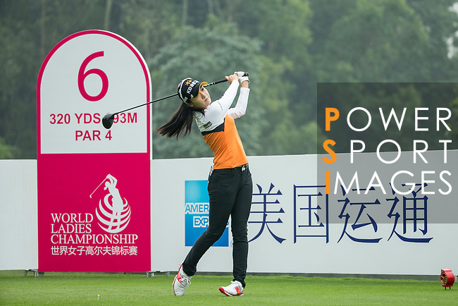 Ji Hyun Oh of South Korea tees off at the 6th hole during Round 4 of the World Ladies Championship 2016 on 13 March 2016 at Mission Hills Olazabal Golf Course in Dongguan, China. Photo by Victor Fraile / Power Sport Images
