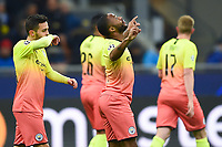 6th November 2019, Milan, Italy; UEFA Champions League football, Atalanta versus Manchester City; Raheem Sterling goal celebration in the 7th minute for 0-1