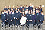 1ST PRIZE: Aisling O'Sullivan, Tubrid, Ardfert (age 11) who won first prize in the Gaelic football art competition in the Community Games in Mosney last weekend, pictured here with all her class mates from Ardfert NS on Tuesday.   Copyright Kerry's Eye 2008