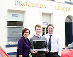 Elaine Grennan and Gordon Hatch presenting David Stephenson with his prize for the Journalism Competition...Photo NEWSFILE/Jenny Matthews.(Photo credit should read Jenny Matthews/NEWSFILE)....This Picture has been sent you under the condtions enclosed by:.Newsfile Ltd..The Studio,.Millmount Abbey,.Drogheda,.Co Meath..Ireland..Tel: +353(0)41-9871240.Fax: +353(0)41-9871260.GSM: +353(0)86-2500958.email: pictures@newsfile.ie.www.newsfile.ie.FTP: 193.120.102.198.
