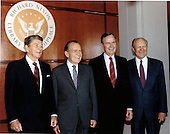 United States President George H.W. Bush, right center, joins former U.S. Presidents Ronald Reagan, left, Richard M. Nixon, left center, and Gerald R. Ford, right at the dedication of the Richard Nixon Library and Birthplace in Yorba Linda, California on Thursday, July 19, 1990.  .Mandatory Credit: David Valdez - White House via CNP