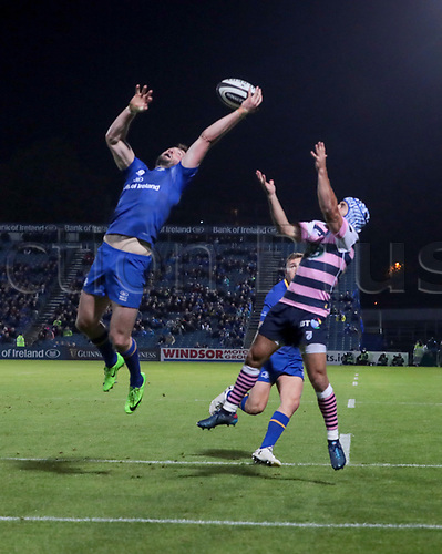 8th September 2017, RDS Arena, Dublin, Ireland; Guinness Pro14 Rugby, Leinster versus Cardiff Blues; Barry Daly (Leinster) gathers the ball in the air