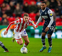 11th January 2020; Bet365 Stadium, Stoke, Staffordshire, England; English Championship Football, Stoke City versus Milwall FC; Nick Powell of Stoke City chases down a loose ball - Strictly Editorial Use Only. No use with unauthorized audio, video, data, fixture lists, club/league logos or 'live' services. Online in-match use limited to 120 images, no video emulation. No use in betting, games or single club/league/player publications