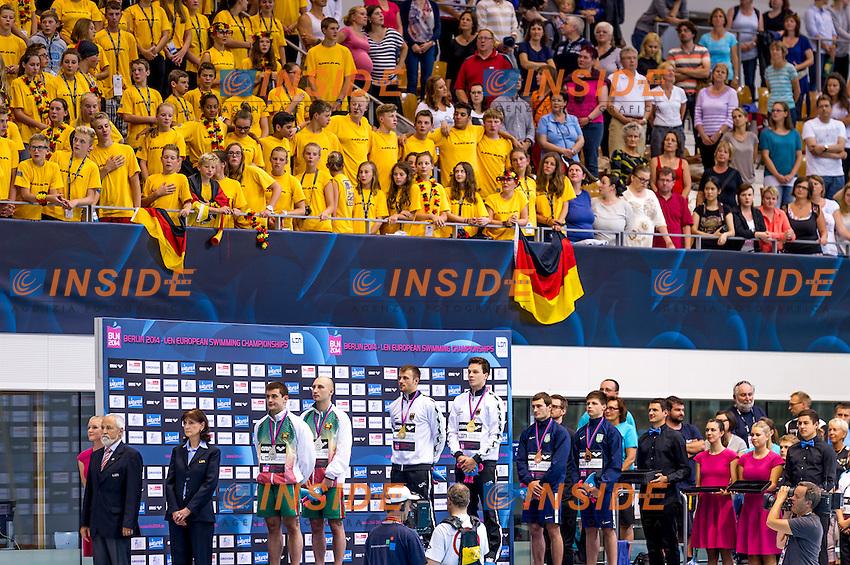 Podium<br /> Silver Medal - BLR Belarus<br /> KAPTUR Vadim<br /> KARALIOU Yauheni<br /> Gold Medal - GER Germany<br /> HAUSDING Patrick<br /> KLEIN Sascha GER<br /> Bonze Medal<br /> UKR Ukraine<br /> BONDAR Oleksandr<br /> DOLGOV Maksym<br /> Diving 10 m Platform Men Final<br /> 32nd LEN European Championships <br /> Berlin, Germany 2014  Aug.13 th - Aug. 24 th<br /> Day08 - Aug. 20<br /> Photo P. Mesiano/Deepbluemedia/Inside