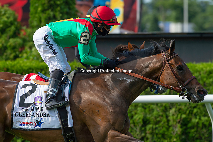 Oleksandra #2, ridden by Joel Rosario, wins the Jaipur Stakes before the 152nd running of Belmont Stakes at Belmont race track in Elmont, New York, USA, 20 June 2020. The Belmont is being run without fans due to coronavirus SARS-CoV-2 which causes the Covid-19 disease and while it has always been the third leg of the Triple Crown, due to Covid-19 it is, instead the first leg in 2020.  photo by Eric Kalet/Eclipse Sportswire