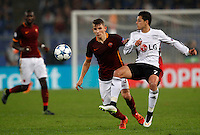 Calcio, Champions League, Gruppo E: Roma vs Bayer Leverkusen. Roma, stadio Olimpico, 4 novembre 2015.<br /> Roma's Lucas Digne, left, and Bayer Leverkusen's Javier Hernandez fight for the ball during a Champions League, Group E football match between Roma and Bayer Leverkusen, at Rome's Olympic stadium, 4 November 2015.<br /> UPDATE IMAGES PRESS/Riccardo De Luca