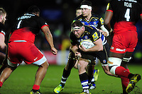 Henry Thomas of Bath Rugby goes on the attack. Aviva Premiership match, between Bath Rugby and Saracens on April 1, 2016 at the Recreation Ground in Bath, England. Photo by: Patrick Khachfe / Onside Images