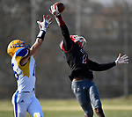 Roosevelt wide receiver Deablo McGee (right) almost intercepts a pass intended for Borgia wide receiver Brandon Mitchell. Roosevelt defeated Borgia in a Class 3 District 2 football game at Roosevelt HS in St. Louis on Saturday November 16, 2019. <br /> Tim Vizer/Special to STLhighschoolsports.com