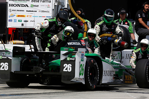 26-27 June, 2015, Fontana, California USA<br /> Carlos Munoz makes a pit stop<br /> ©2015, Phillip Abbott<br /> LAT Photo USA
