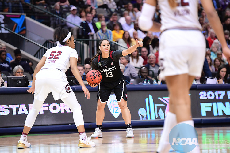 DALLAS, TX - MARCH 31:  Marta Sniezek #13 of the Stanford Cardinal during the 2017 Women's Final Four at American Airlines Center on March 31, 2017 in Dallas, Texas. (Photo by Justin Tafoya/NCAA Photos via Getty Images)