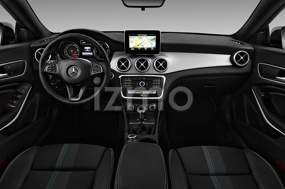 Stock photo of straight dashboard view of 2017 Mercedes Benz CLA-Class - 5 Door wagon Dashboard