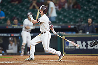 Rowdey Jordan (4) of the Mississippi State Bulldogs follows through on his swing against the Houston Cougars in game six of the 2018 Shriners Hospitals for Children College Classic at Minute Maid Park on March 3, 2018 in Houston, Texas. The Bulldogs defeated the Cougars 3-2 in 12 innings. (Brian Westerholt/Four Seam Images)