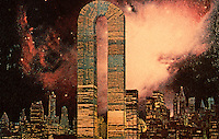 "Utopia:  World Trade Center ""Trade-Offs""--Magnetude Manor.  Postcard by Michael Langenstein in NEW YORK MAGAZINE, July 21, 1975."