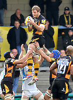High Wycombe, England. Joe Launchbury of London Wasps wins the line out during the Aviva Premiership match between London Wasps and Worcester Warriors at Adam Park on October 7, 2012 in High Wycombe, England.