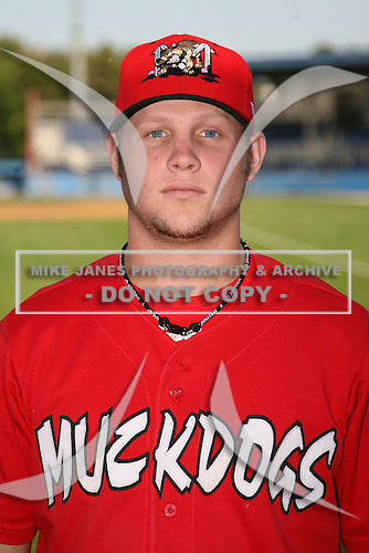 September 5, 2009:  Pitcher Andrew Moss of the Batavia Muckdogs before a game at Dwyer Stadium in Batavia, NY.  The Muckdogs are the Short-Season Class-A affiliate of the St. Louis Cardinals.  Photo By Mike Janes/Four Seam Images