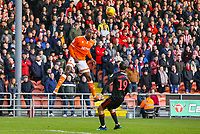 Blackpool's Donervon Daniels heads back across goal under pressure from Sunderland's Aidan McGeady<br /> <br /> Photographer Alex Dodd/CameraSport<br /> <br /> The EFL Sky Bet League One - Blackpool v Sunderland - Tuesday 1st January 2019 - Bloomfield Road - Blackpool<br /> <br /> World Copyright © 2019 CameraSport. All rights reserved. 43 Linden Ave. Countesthorpe. Leicester. England. LE8 5PG - Tel: +44 (0) 116 277 4147 - admin@camerasport.com - www.camerasport.com