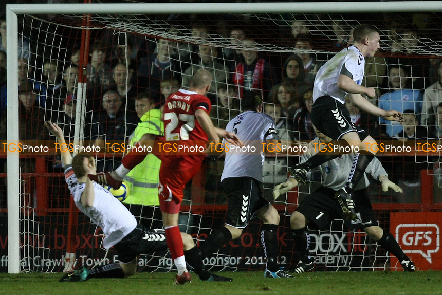 Andy Drury of Crawley Town scores fourth goal - Crawley Town vs Redbridge - FA Cup 2nd Round Football at Broadfield Stadium, Crawley - 03/12/11 - MANDATORY CREDIT: George Phillipou/TGSPHOTO - Self billing applies where appropriate - 0845 094 6026 - contact@tgsphoto.co.uk - NO UNPAID USE.