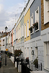 The Royal Borough of Kensington and Chelsea. Painted houses, Smith Terrace, Chelsea, London SW3 England. 2006.