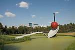 Minnesota, Twin Cities, Minneapolis-Saint Paul: Sculpture Spoonbridge and Cherry by Claes Oldenburg at the Minnesota Sculpture Garden next to the Walker Art Center..Photo mnqual203-75227..Photo copyright Lee Foster, www.fostertravel.com, 510-549-2202, lee@fostertravel.com.