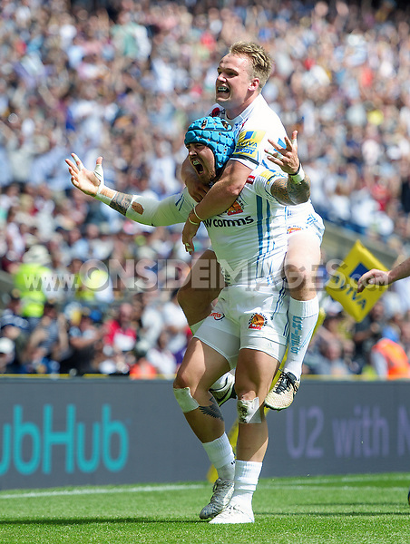 Jack Nowell of Exeter Chiefs celebrates his first half try with team-mate Stuart Townsend. Aviva Premiership Final, between Wasps and Exeter Chiefs on May 27, 2017 at Twickenham Stadium in London, England. Photo by: Patrick Khachfe / JMP