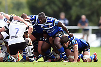 Geraud Clermont of Bath United prepares to scrummage against his opposite number. Premiership Rugby Shield match, between Bristol Bears A and Bath United on August 31, 2018 at the Cribbs Causeway Ground in Bristol, England. Photo by: Patrick Khachfe / Onside Images