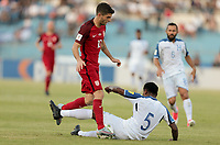 San Pedro Sula, Honduras - Tuesday September 05, 2017: Christian Pulisic, Éver Alvarado during a 2017 FIFA World Cup Qualifying (WCQ) round match between the men's national teams of the United States (USA) and Honduras (HON) at Estadio Olímpico Metropolitano.