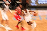 NEW YORK, EUA, 08.04.2017 - BROOKLYN NETS-CHICAGO BULLS - Jimmy Butler   do Chicago Bull disputa bola com Caris LeVen do Brooklyn Nets  no Barcleys Center em New York na noite deste sábado, 08. (Foto: William Volcov/Brazil Photo Press)