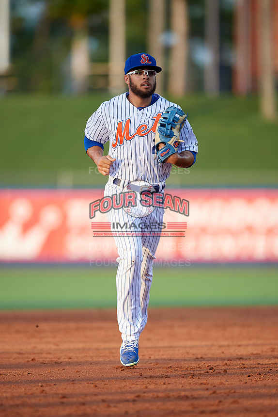 St. Lucie Mets center fielder Desmond Lindsay (2) jogs off the field during the first game of a doubleheader against the Charlotte Stone Crabs on April 24, 2018 at First Data Field in Port St. Lucie, Florida.  St. Lucie defeated Charlotte 5-3.  (Mike Janes/Four Seam Images)