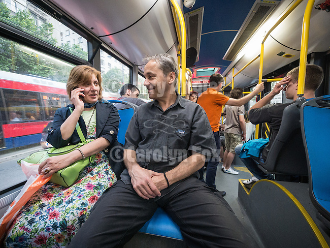 Riding a bus with Zorica and Miloje on Alexander Bulivard, Belgrade, Serbia