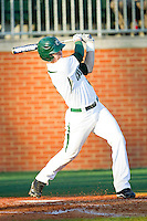 Brett Lang (6) of the Charlotte 49ers follows through on his swing against the Delaware State Hornets at Robert and Mariam Hayes Stadium on February 15, 2013 in Charlotte, North Carolina.  The 49ers defeated the Hornets 13-7.  (Brian Westerholt/Four Seam Images)