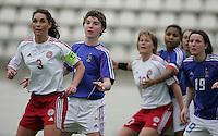 MAR 9, 2006: Faro, Portugal:  French forward (11) Laettitia Tonazzi and Danish defender (3) Katrine Pedersen watch a corner kick come in the box  at the Algarve Cup in Faro, Portugal. Mandatory Credit: Photo By Brad Smith-International Sports Images.