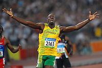 Usain Bolt, Jamaica, Gold Medal and world record, 19.30 Men's 200 meters.National Stadium - Bird Nest - Atletica Leggera.Pechino - Beijing 20/8/2008 Olimpiadi 2008 Olympic Games.Foto Andrea Staccioli Insidefoto