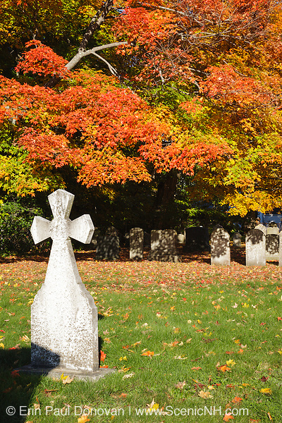 Autumn foliage Saint Mary's Cemetery in Portsmouth, New Hampshire during the autumn months.