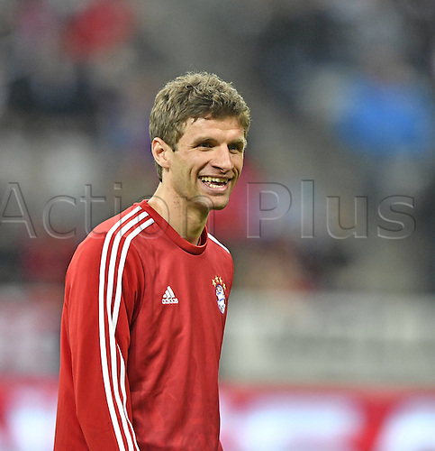 05.04.2016. Munich, Germany.  Thomas Muller FC Bayern Munchen looking relaxed at Bayern Munchen FCB versus Benfica Lisbon UEFA Champions League  quarterfinal