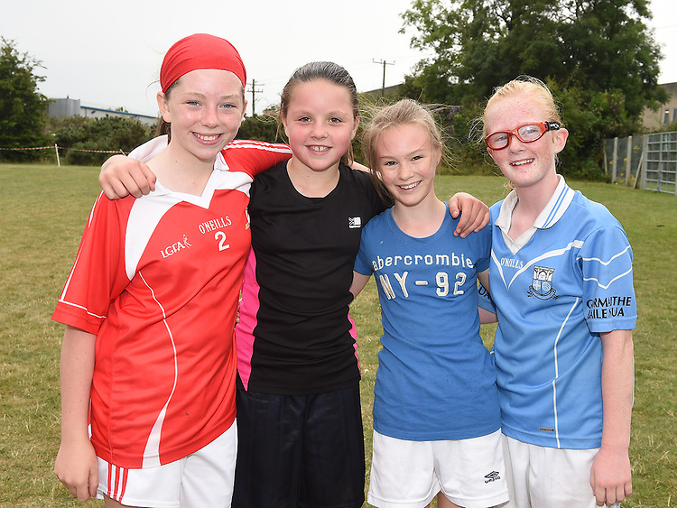Erin McDonagh, Ciara NicCríosta, April Judge and Emeer Clarke at the Newtown Blues GAA Juvenile Triathlon Fundraiser.  Photo:Colin Bell/pressphotos.ie