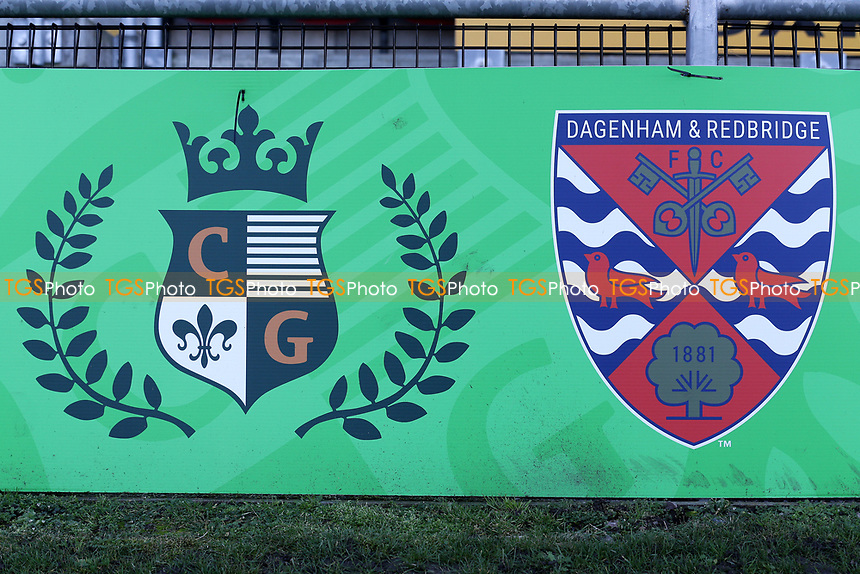 Dagenham & Redbridge and Chigwell Construction crests during Dagenham & Redbridge vs Stockport County, Vanarama National League Football at the Chigwell Construction Stadium on 8th February 2020