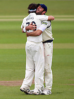 PICTURE BY VAUGHN RIDLEY/SWPIX.COM - Cricket - County Championship - Yorkshire v Derbyshire, Day 2 - Headingley, Leeds, England - 30/04/13 - Yorkshire's Jack Brooks celebrates with Liam Plunkett after bowling Derbyshire's Tony Palladino.